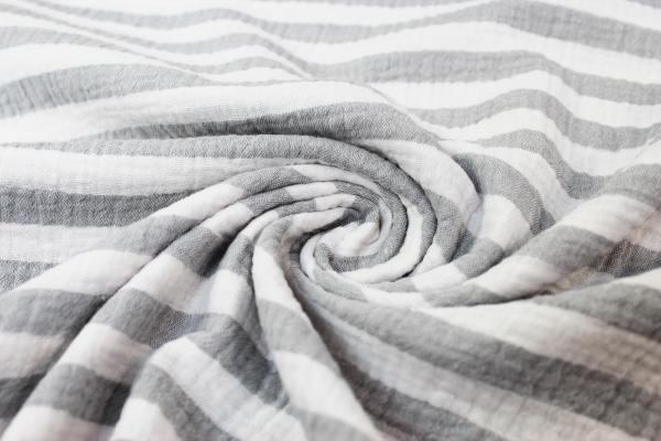 Musselin Double Gauze Stripes grau 100% Baumwolle Ökotex 100