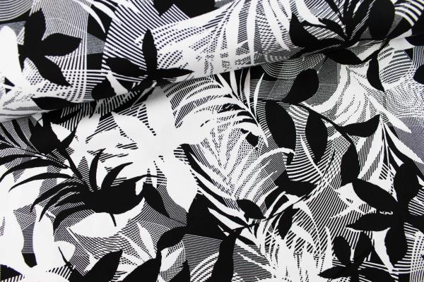 Baumwoll Satin Stretch Flowers grafisch schwarz-weiß Öko Tex 100