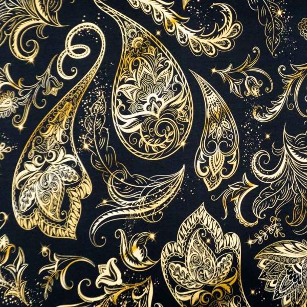 Bio-Baumwolljersey Metallic Paisley gold