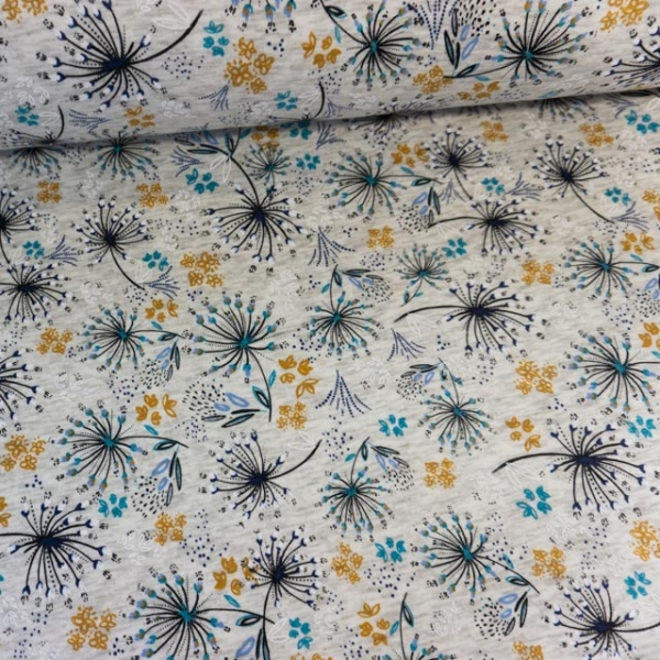 Alpensweat Melange Flowers ecru Ökotex 100