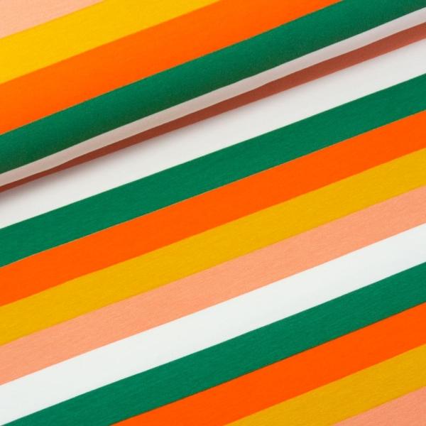 Sweat French Terry Preppy Stripes nude-senf-grün-orange Ökotex 100