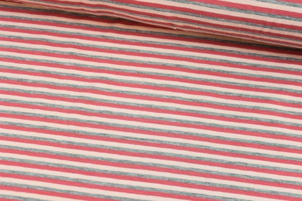 Baumwolljersey Streifen hellgrau meliert-apricot-rose Ökotex 100