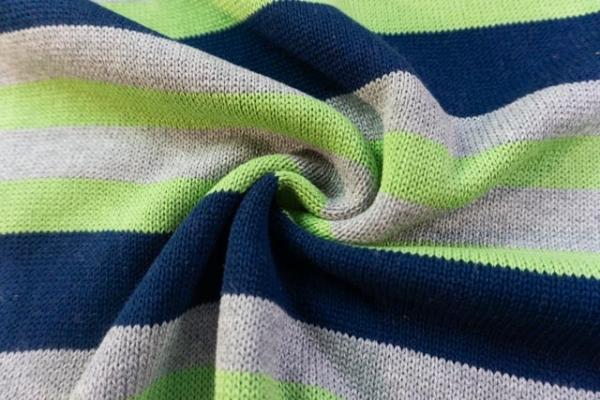 Baumwoll Streifen Strick 100% Baumwolle navy-grün-grau Ökotex100