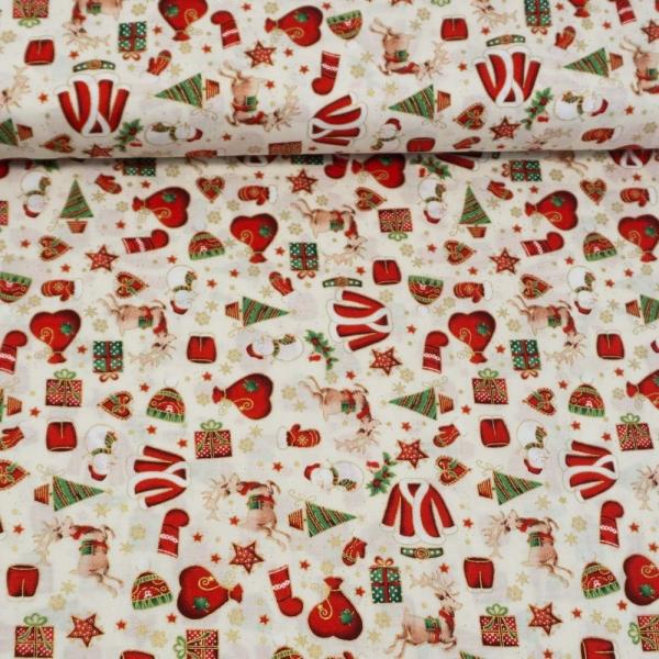 Baumwollwebware Weihnachtsträume ecru