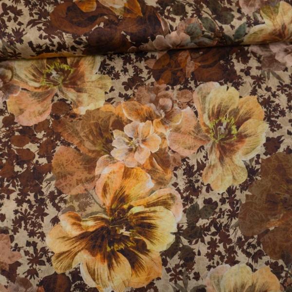 Viskosesatin Italienische Kollektion Big Blossoms beige