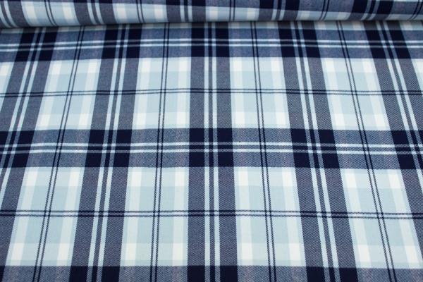 Fashionstoff Schottenkaro Twill elastisch navy-hellblau Ökotex 100