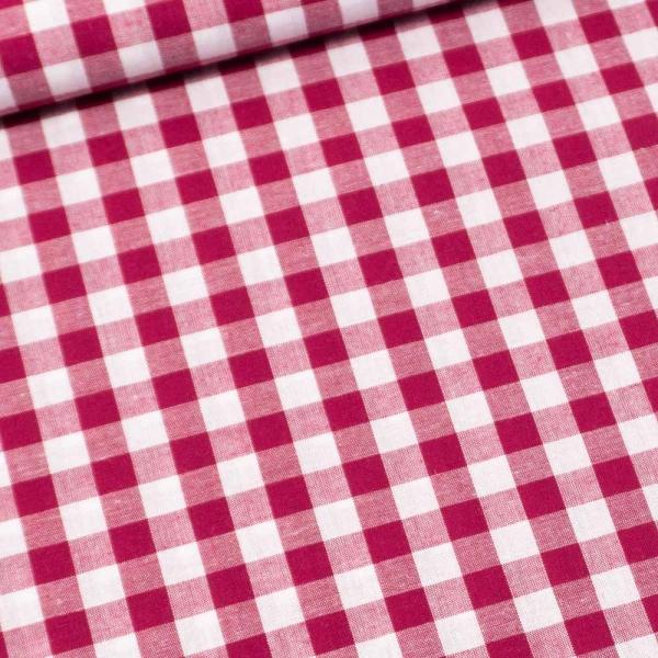 Edle Baumwoll Popeline Karo Groß 8mm pink-beere