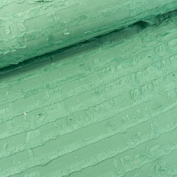 Baumwollwebware Streifen mit Fransen dusty green