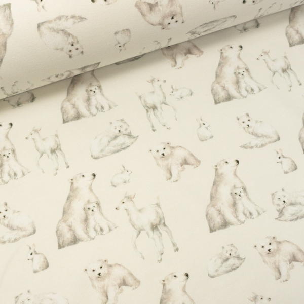 Sommersweat French Terry Polar Animals ecru
