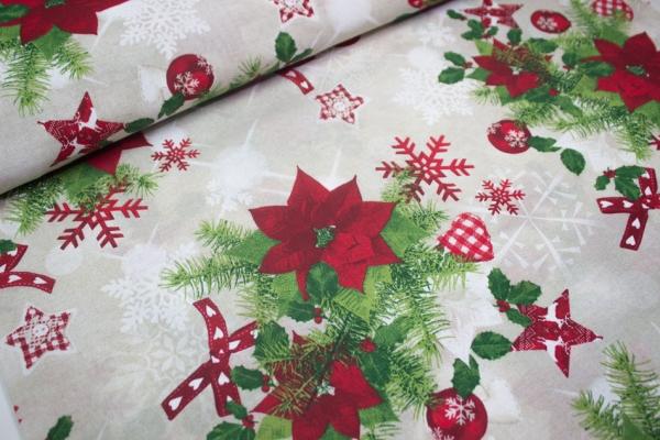 Canvas Weihnachtsstern hellbeige 100% Baumwolle Ökotex 100
