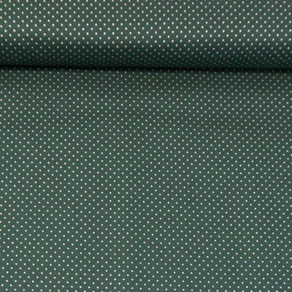 Baumwollwebware Christmas Small Gold Dots tannengrün