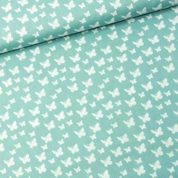 Baumwollwebware Butterfly dusty mint
