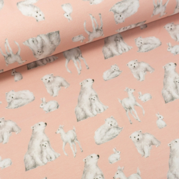 Sommersweat French Terry Polar Animals rosa