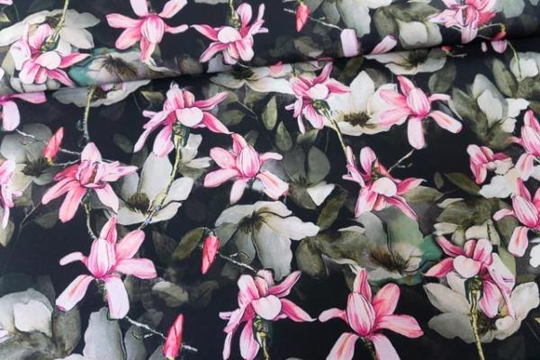 Royal Satin Bi-Stretch Magnolie schwarz Ökotex 100