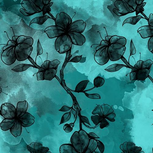 Bio-Sweat French Terry Aquarell Blossom petrol-schwarz Ökotex 100
