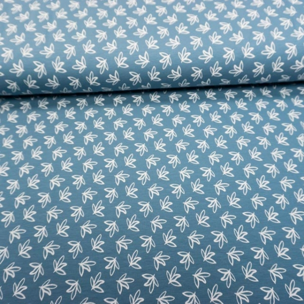 Baumwolljersey Small Leaves jeansblau hell