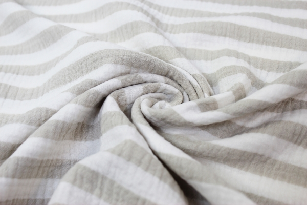 Musselin Double Gauze Stripes taupe 100% Baumwolle Ökotex 100
