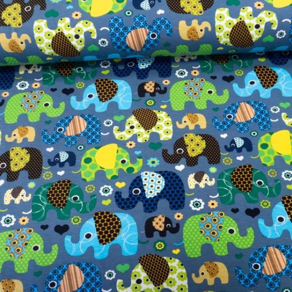 Baumwolljersey Motivfanten jeansblau