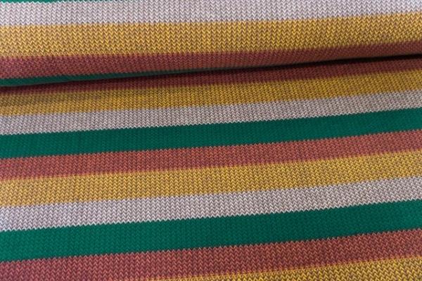 Sweat French Terry angeraut Statement Stripes Knit tannengrün-terra-senf-ecru Ökotex 100-C