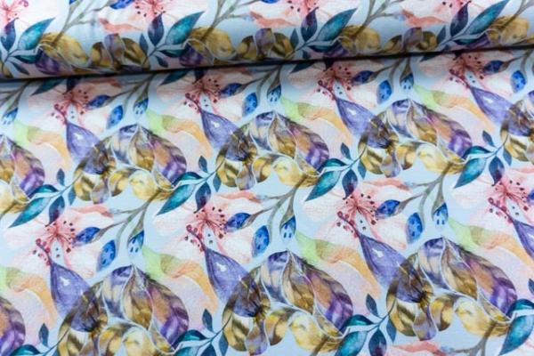 Viskosejersey DIGITAL Watercolor Flowers pastellblau Ökotex 100