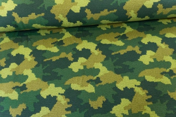 Sweat French Terry angeraut Camouflage Knit grün Ökotex 100
