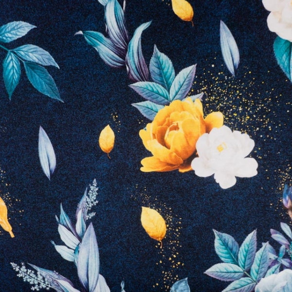 Bio-Baumwolljersey Magical Roses navy melange
