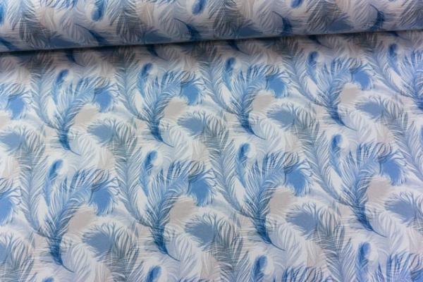 Baumwolljersey DIGITAL Federleicht jeansblau Ökotex 100