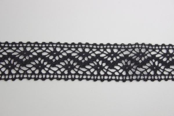 Baumwoll Spitzenborte schwarz 2,5cm Ökotex 100