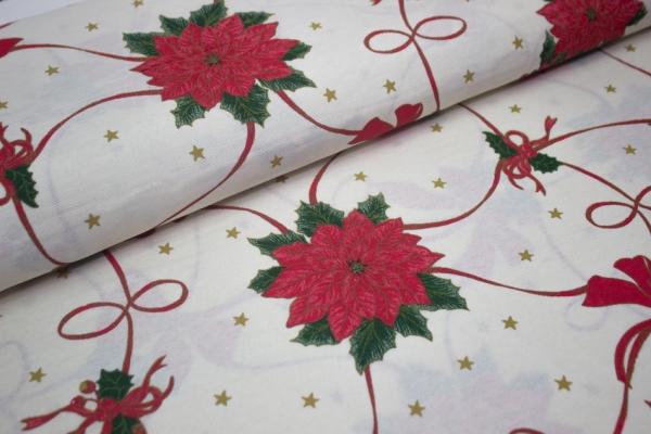 Canvas Weihnachtsschleife hellbeige 100% Baumwolle Ökotex 100