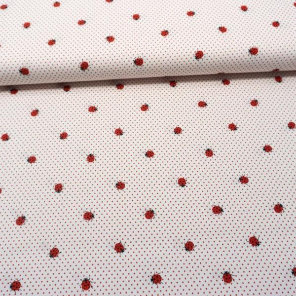 Babypique Baumwolle kleine Marienkäfer weiß-rot
