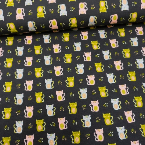 Baumwolljersey Glittercats anthra
