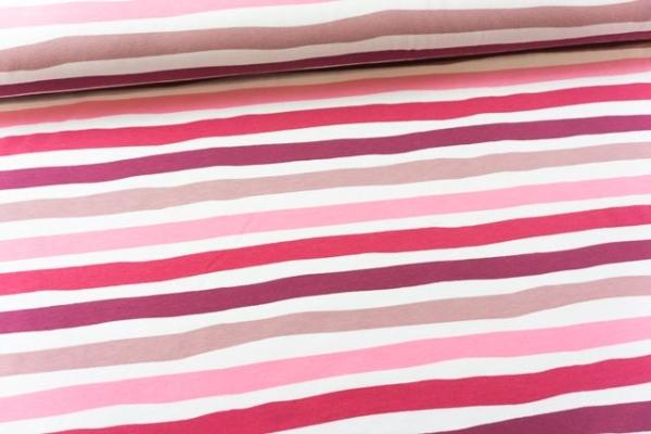 Baumwolljersey STRIPES altrosa-bordeaux-pink Ökotex 100