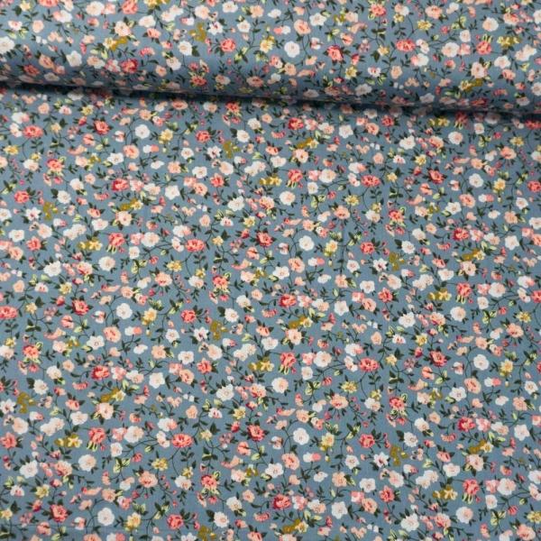 Baumwollwebware Tiny Flower Tendril jeansblau