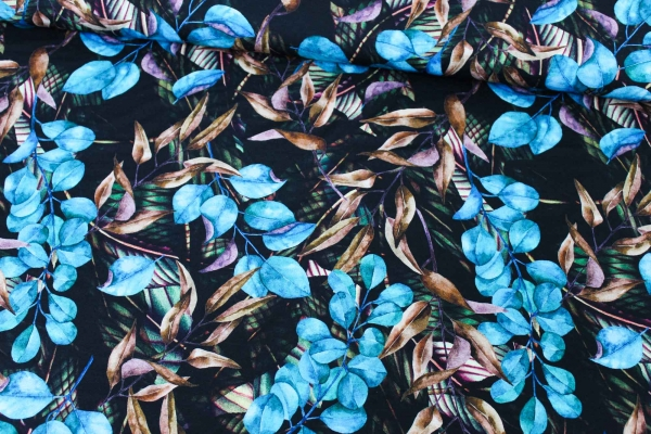 Viskosejersey Digital Leaves blau Ökotex 100
