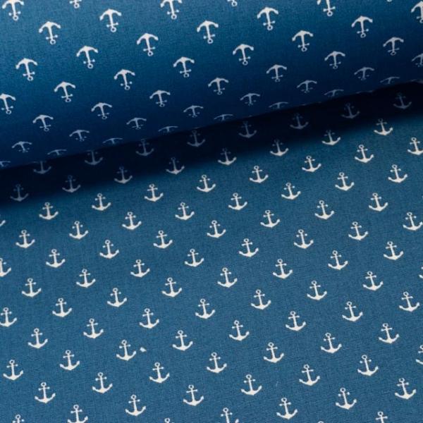 Baumwollwebware Mini Anker jeansblau-weiß