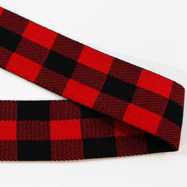 Gummiband Checks rot - schwarz 40mm Ökotex 100
