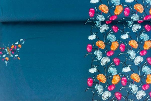 Baumwolljersey DIGITAL PANEL Flowery Butterfly navy Ökotex 100