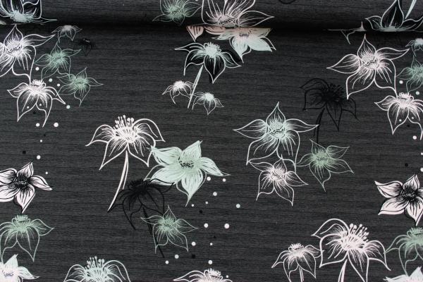 Baumwolljersey Big Blossom meliert anthra-mint Ökotex 100