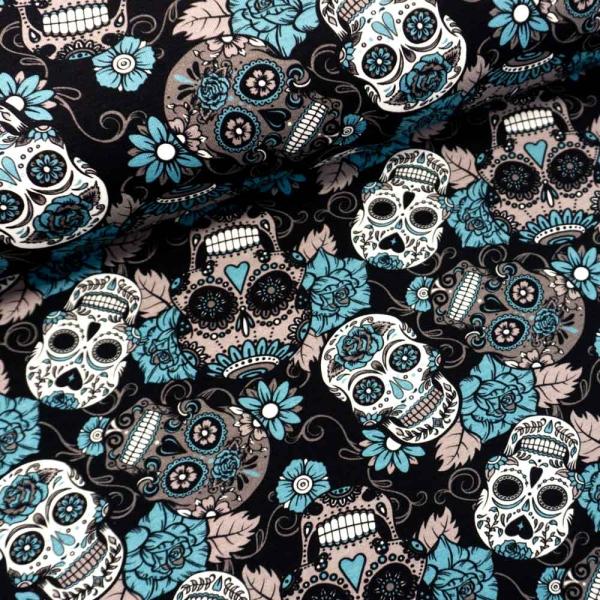 Baumwolljersey Skulls and Blossom schwarz