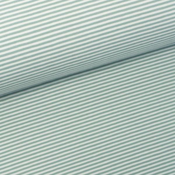 Baumwolljersey Ringel ecru-dusty mint