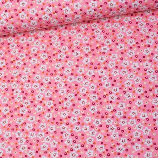 Baumwollwebware Popeline Margeriten rosa