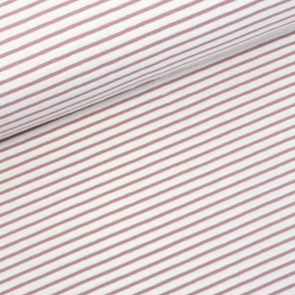 Baumwolljersey Small Stripes ecru-altrosa