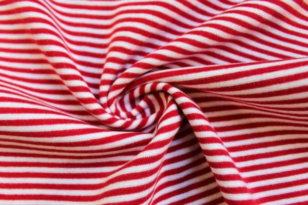 Bündchen Feinstrick Ringel weiß-rot Ökotex 100