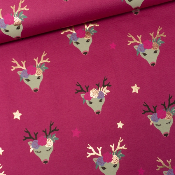 Baumwolljersey Fancy Deer Folienprint pink-beere