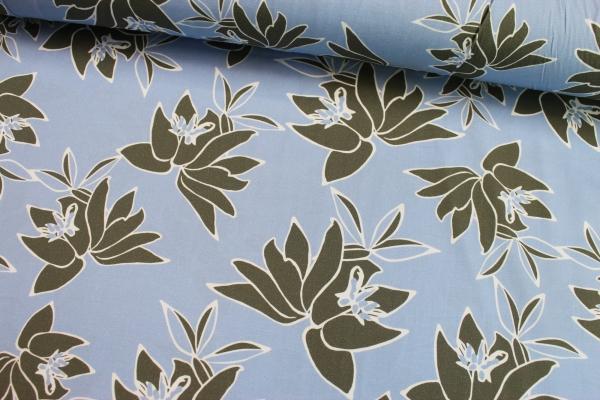 Elastische Baumwolle khaki Flowers hellblau Poplin Stretch Öko Tex 10