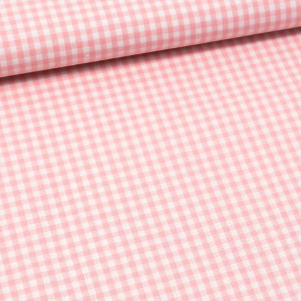 Edle Baumwoll Popeline Karo klein 3mm rosa