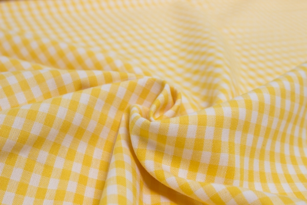 Baumwolle Vichy klein gelb/weiß Öko Tex 100