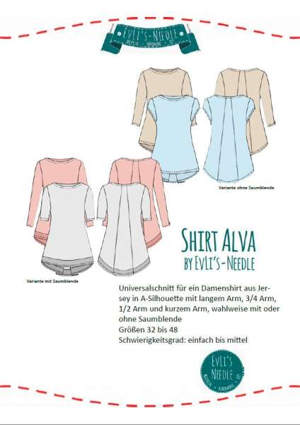 A0 Schnittbogen A-Shirt ALVA by EvLi's-Needle