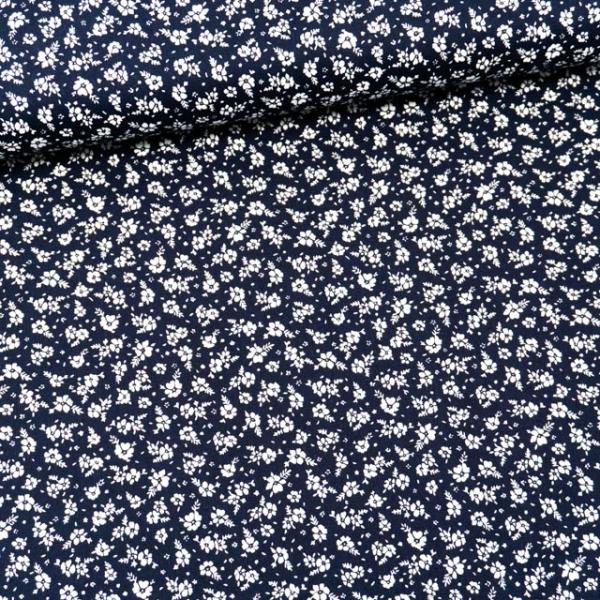 Baumwollwebware kleine Blümchen navy