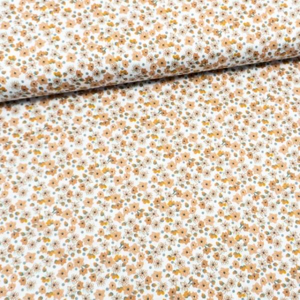 Bio Baumwollwebware Blumenpracht weiß-senf